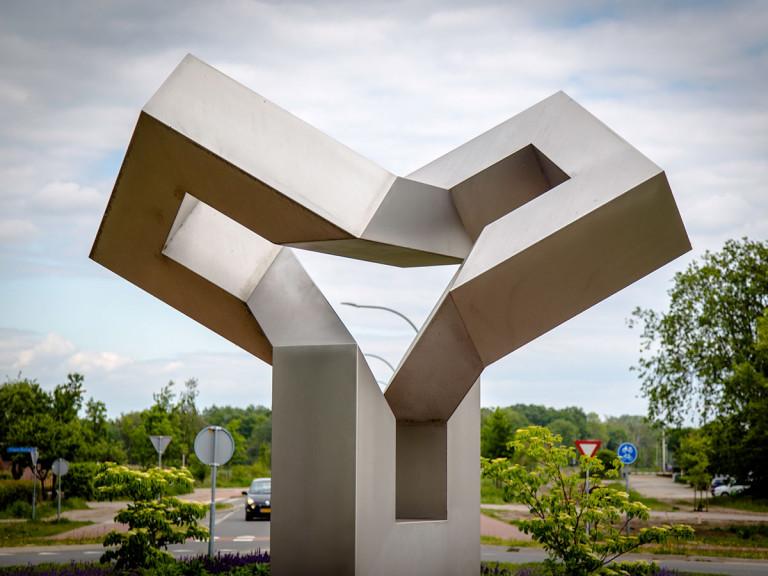 Stalen Kunstwerk, Koos Verhoeff, Leenderwerg, Valkenswaard, close-up